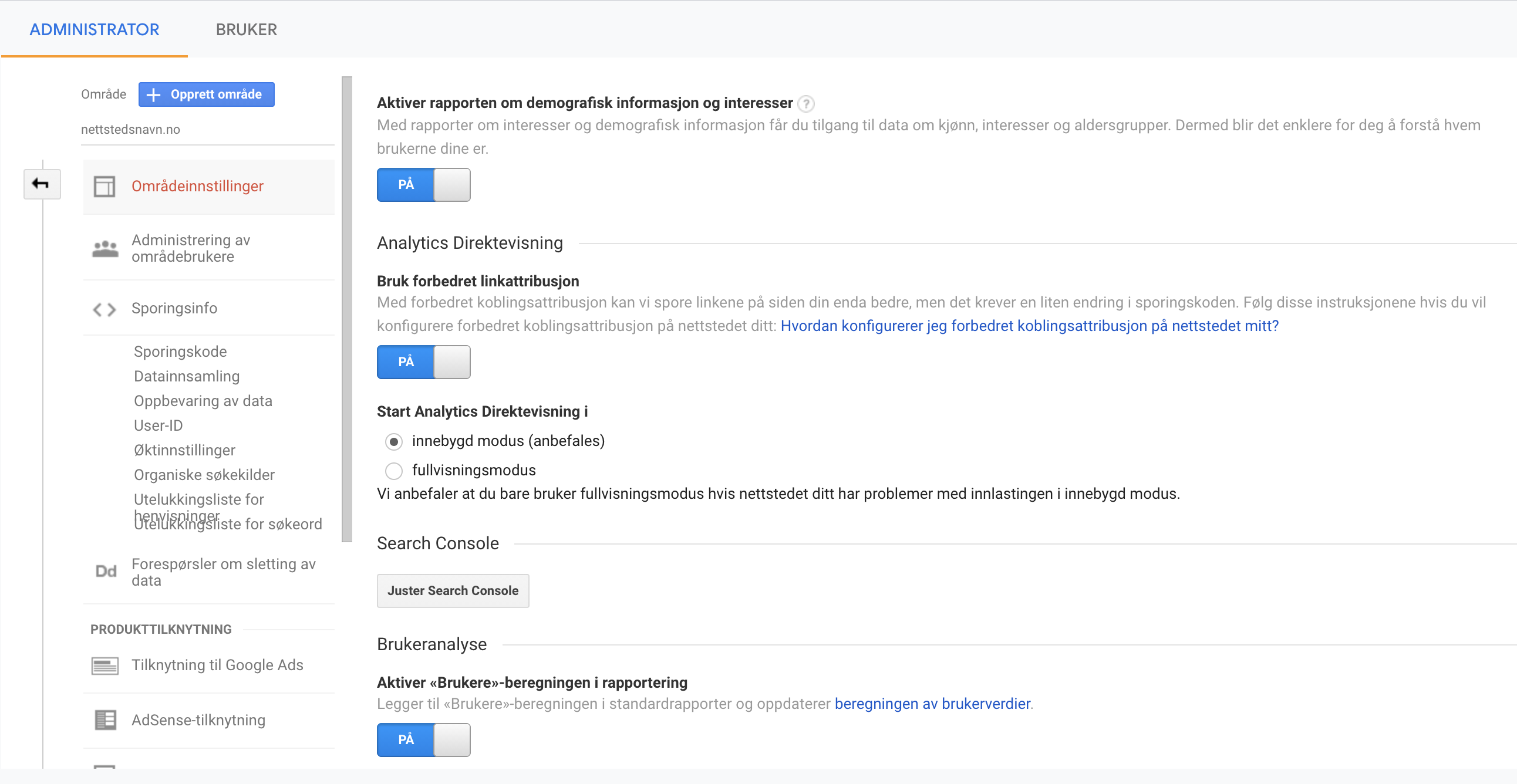Områdeinnstillinger i Google Analytics