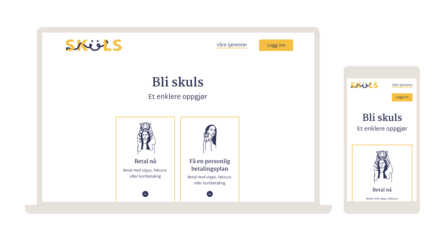 Bilde av Skuls nye forside på desktop og mobil