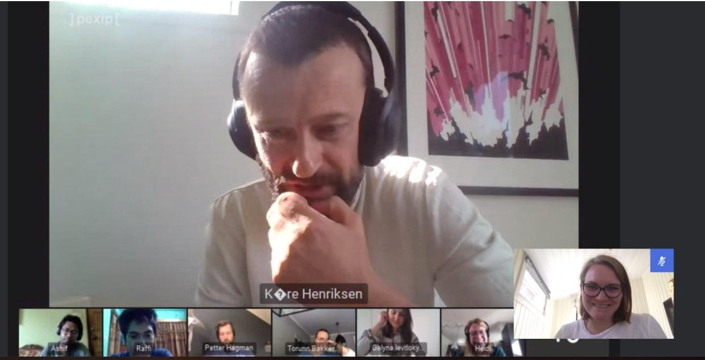 Skjermbilde av prosjektdeltakerne i videomøte
