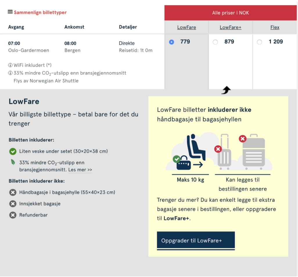 Skjermbilde av Norwegians bookingløp