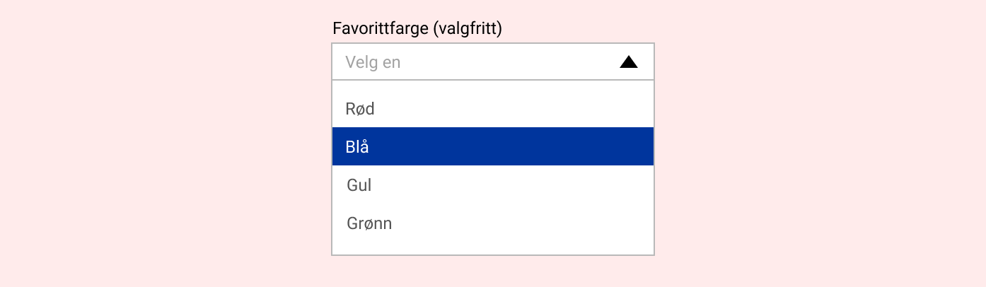 Eksempel på dropdown med fire alternativer