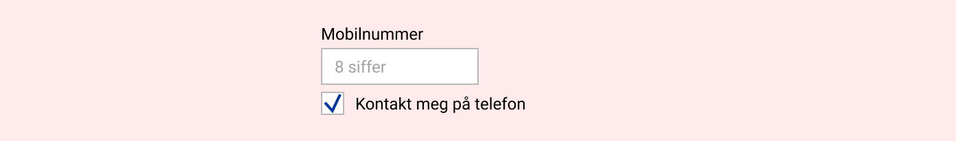 Eksempel på felt for mobilnummer med avsjekksboks under