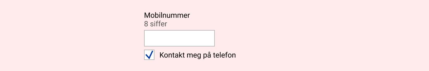 Eksempel på felt for mobilnummer der hjelpetekst står utenfor feltet.