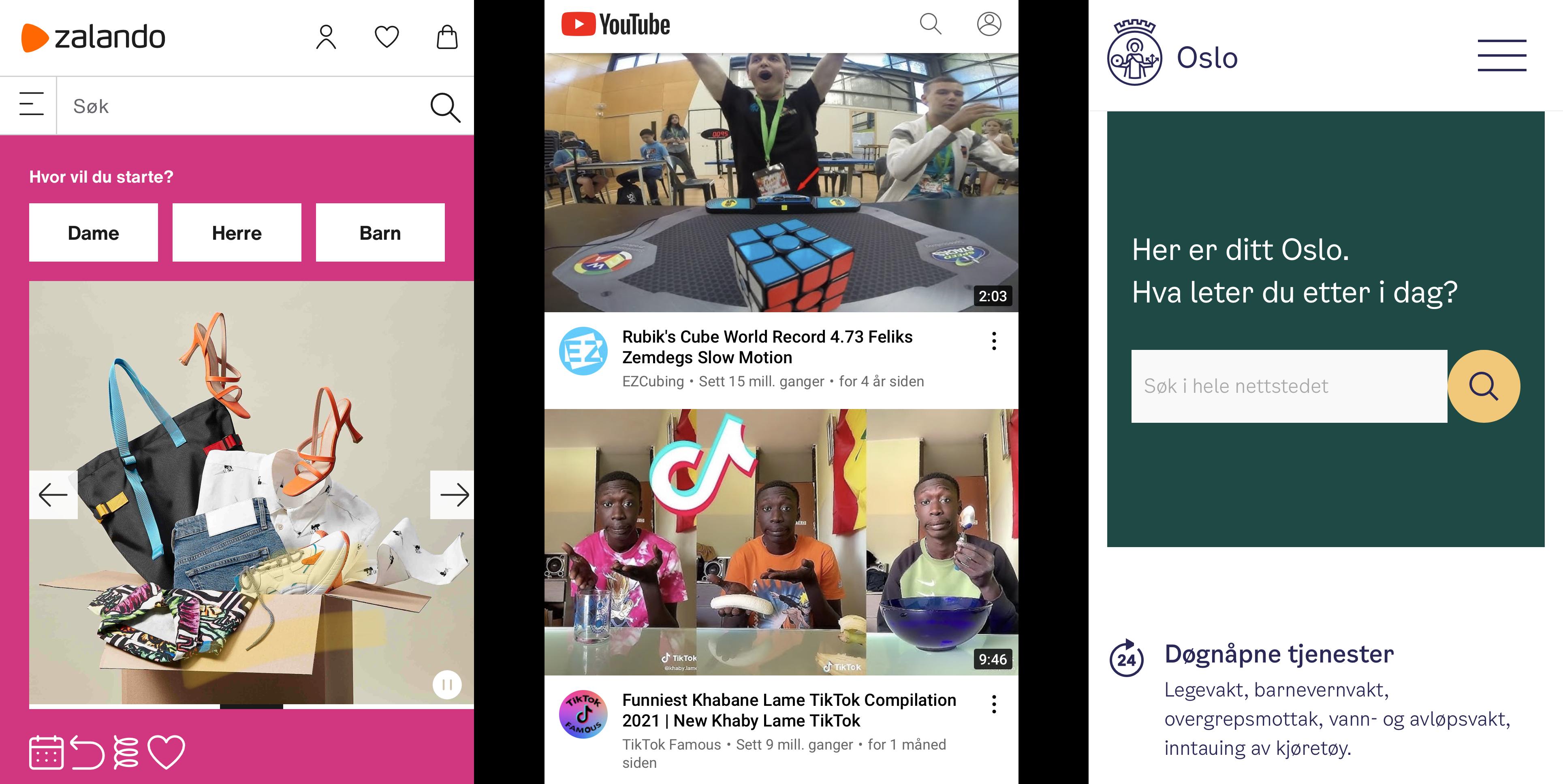 Skjermdumper fra Zalando, YouTube og Oslo kommune som viser like søke-ikoner