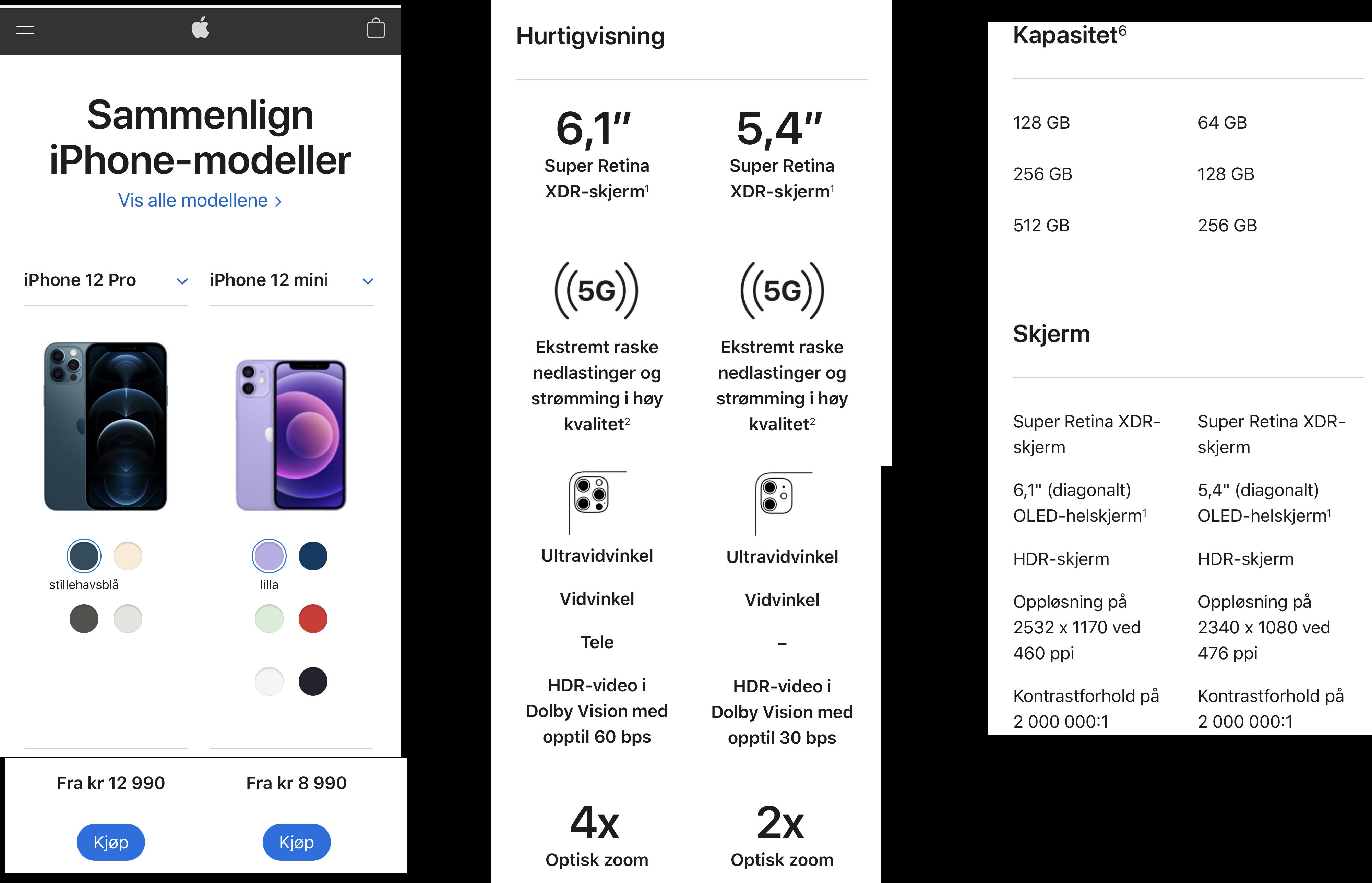 Skjermdump fra sammenligningen til Eplehuset for ulike iPhone-modeller