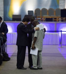 Delegates stopped thought the day for prayer
