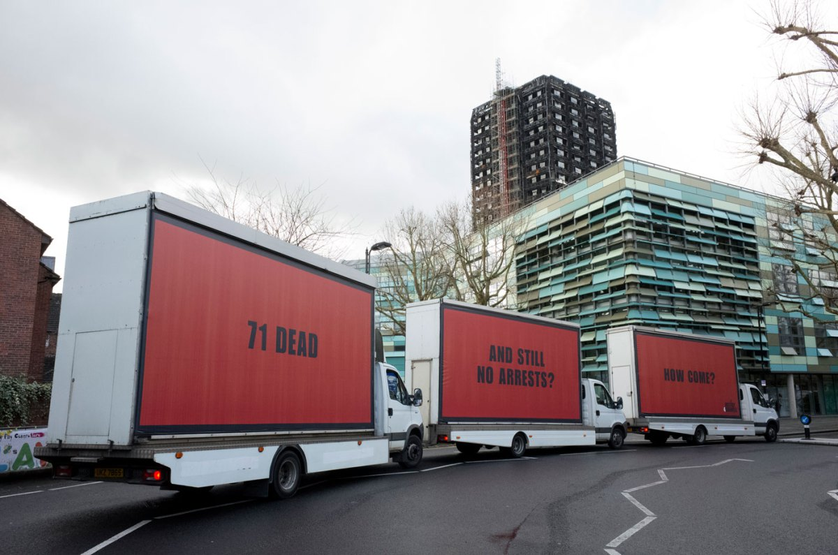 Justice4Grenfell - Three Billboards Outside Grenfell Tower, London