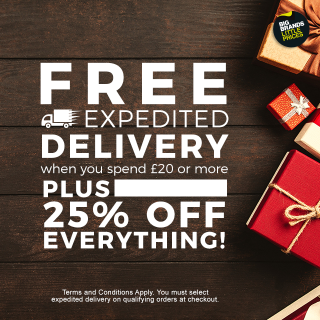 Get free expedited delivery when you spend £20+ PLUS 25% off everything!