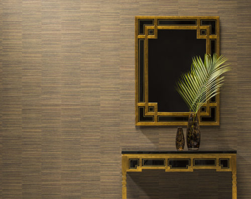 Geometrical mirror and matching table with gold squares. Backdrop: brown Avenue wallcoverings.