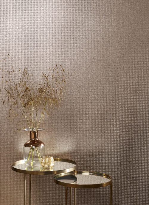 A beautiful use of mica wallcoverings in this pink mica with rosé gold embossed foil.