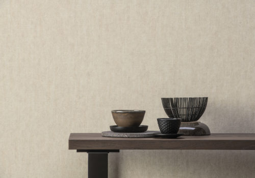 This picture shows a detail of the white Denim design from the High Performance Textures collection by Omexco. High Performance Textures is an exquisite collection of wallcovering that meets essential technical standards while being eco-conscious.