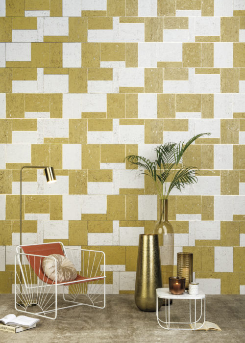 For the Khatam collection we were inspired by the intricacy of Venetian floor patterns and the exquisite designs of Persian marquetry which fuse Eastern and Western artwork. This picture shows the white, yellow and gold KHA22 wallcovering.