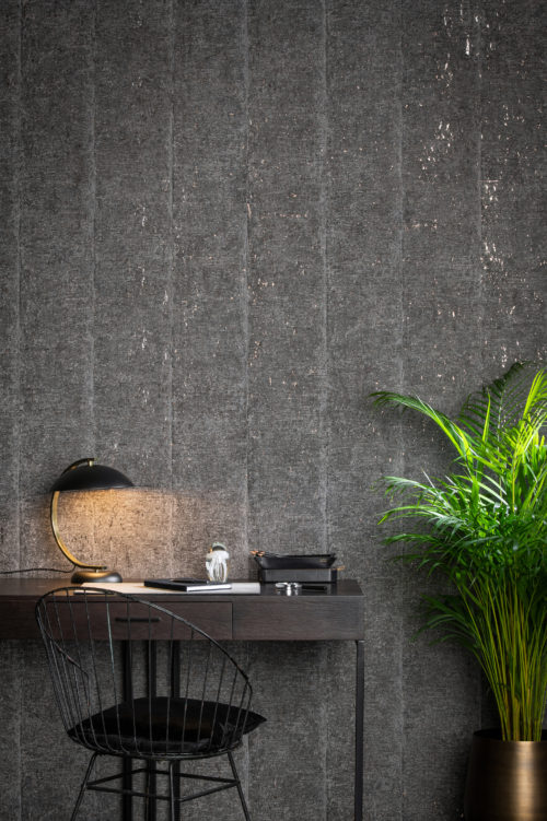Picture of an interior showing off the sfumato design from the Khatam wallcovering collection: graphic design meets fine art, drawing out ancient lines from within the cork bark.