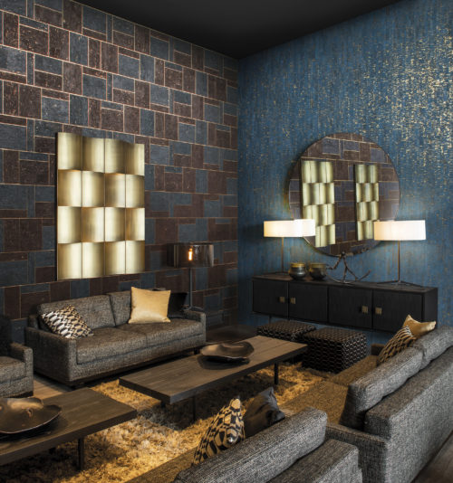Intimately connected with nature, the Khatam collection is authentic, elegant and entirely suited to modern living. In this design we see the peacock blue calligraphy design combined with the modern mosaic: generous geometric marquetry design on precious metal background.