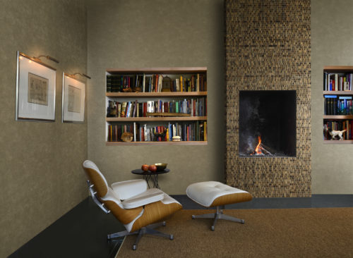 Tactile living room with Eames chair in white leather with wood. The brown and earth tones are in the non-woven wallcovering and in the waterlily around the fireplace.