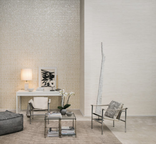 Chrome, black and white furniture in this room with Shades of Pale structured wallcoverings on the wall.
