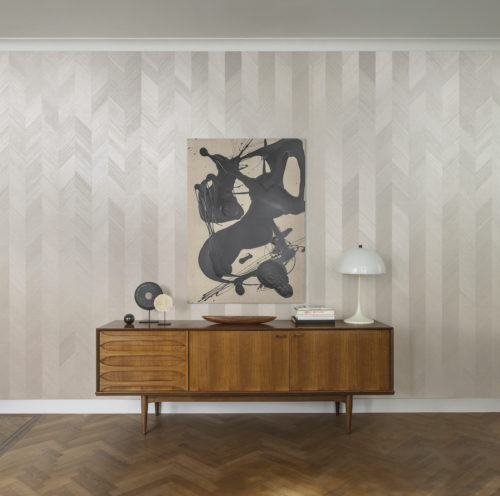 This detailed picture shows just how timeless and elegant our chevron design from our Sycamore collection is. Sycamore exclusive wallcoverings: soft glamour reflecting our desire for a deeper connection with nature.
