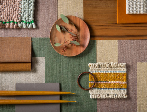 Moodboard composed with Omexco's eco-conscious High Performance Textures wallcoverings in green, beige and orange hues.