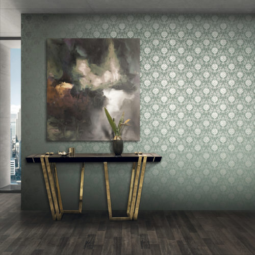 Light green wall with damask wallcovering with silver foil, cloudy painting, side table with gold legs.