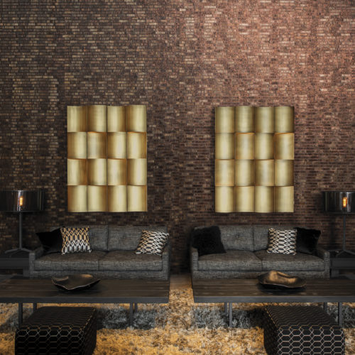This living room showcases our metalized woven bakbak strips wallcovering in dark brown and copper: regular and fine strips of bakbak are sewn together with metallic threads of shimmering copper to create an air of total elegance.