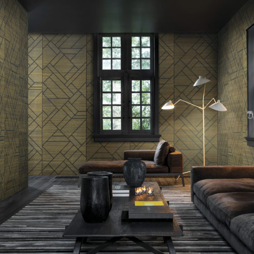 Don't you want to relax in this room? Soak up the zen atmosphere? Our designers printed a geometric design on polychrome sisal. The decorative pattern evokes stained glass craftsmanship and ornate paneling.