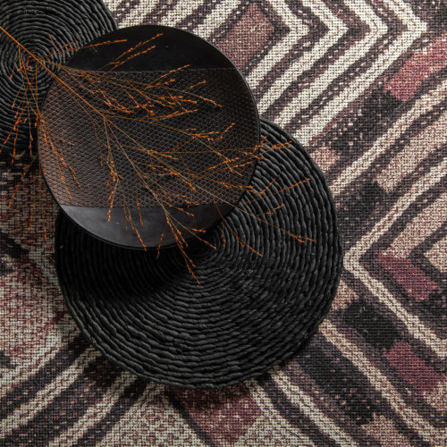 This image from Omexco's wallcovering collection Tribu shows a reinterpretation of the bold Shoowa pattern from the heart of Africa.
