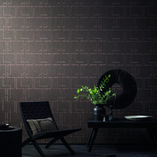 An exquisitely embroidered paperweave from Omexco's Tribu collection. Dark, yet stylish and sophisticated living room.