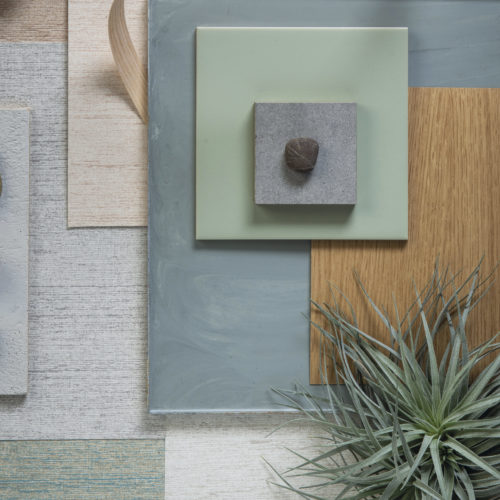 Moodboard composed with Omexco's eco-conscious High Performance Textures wallcoverings in green, blue and beige shades. The air plant in the bottom right corner adds a natural touch to the picture.