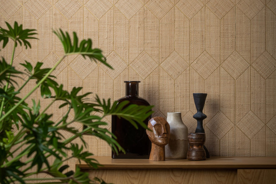 Handwoven raffia is cut into shapes and positioned by hand to form a beautiful marquetry effect.
