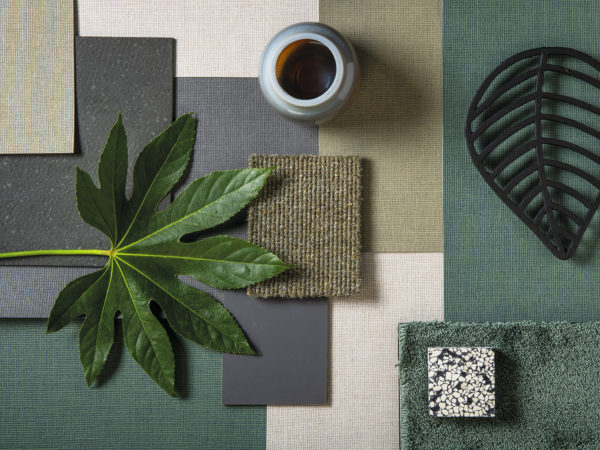 Moodboard composed with Omexco's eco-conscious High Performance Textures wallcoverings in different shades of green.
