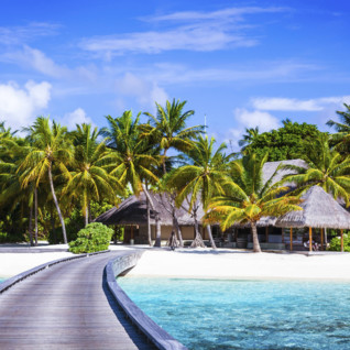 Maldives Beach Hut and Walkway