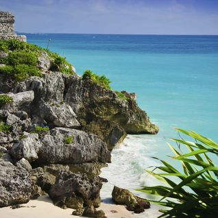 Ruins on the beach in Riviera Maya