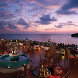 Dining at Four Seasons Landaa Giraavaru, luxury hotel in the Maldives