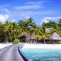 Maldives Beach Hut and Walkway