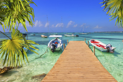 Wooden Pier with Fishing Boats, Mayan Riviera, Mexico