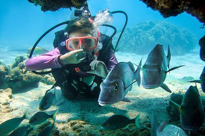 child scuba diving, Red Sea