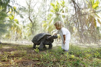 child with giant tortoise, seychelles