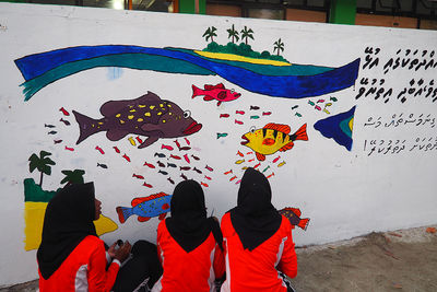 grouper fish mural for marine conservation in the Maldives