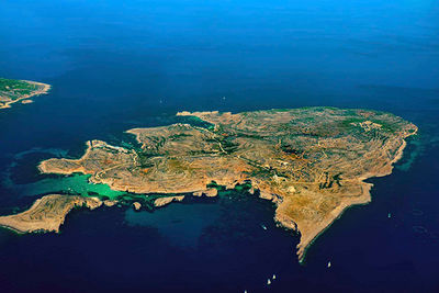 aerial view over gozo