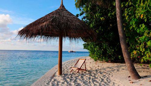 Beach umbrella in the Maldives