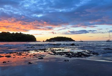 Papagayo Beach and Boats at Sunset, Costa Rica