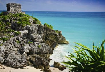 Ruins on the beach in Riviera Maya