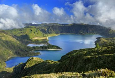 Aerial view of lake in the Azores