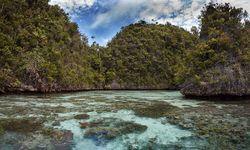 Limestone island over lagoon