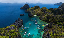 Lagoon with boats, Palawan