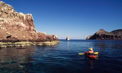 man kayaking in Baja California