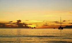 Sailing Boat at Sunset, Seychelles