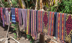 tapestry drying in local village Alor