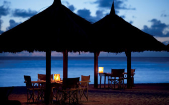 Picture of beach dining at Desroches Island Resort