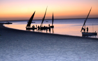 Picture of the dhows at sunset at Benguerra Lodge